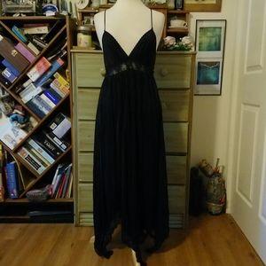 Vintage handkerchief hem black goth boho slip gown